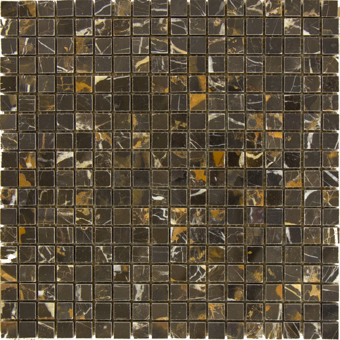 "Black & Gold Marble Mosaic - 5/8"" x 5/8"" Polished"