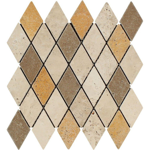 "3 Color Mixed Travertine Mosaic - 2"" x 4"" Diamond Tumbled"