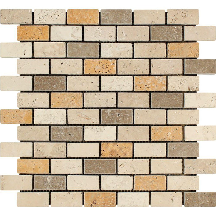 "3 Color Mixed Travertine Mosaic - 1"" x 2"" Brick Tumbled"