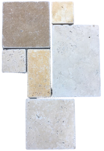 3 Color Mixed Travertine Mosaic - Mini Versailles Pattern Tumbled