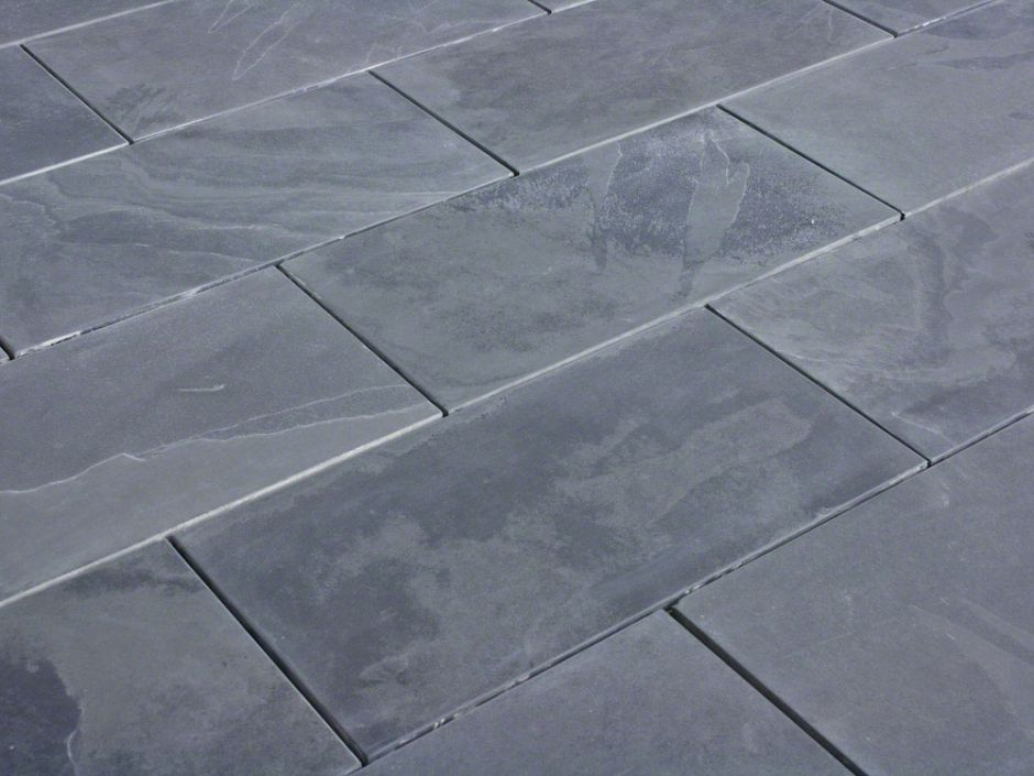 "Full Tile Sample - Montauk Black Slate Tile - 12"" x 24"" x 3/8"" Brushed"