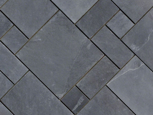 Montauk Black Natural Cleft Face, Gauged Back Slate Versailles Pattern Slate