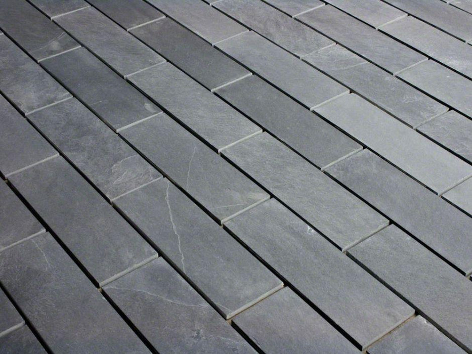 "Full Tile Sample - Montauk Black Slate Tile - 16"" x 16"" x 3/8"" Natural Cleft Face, Gauged Back"