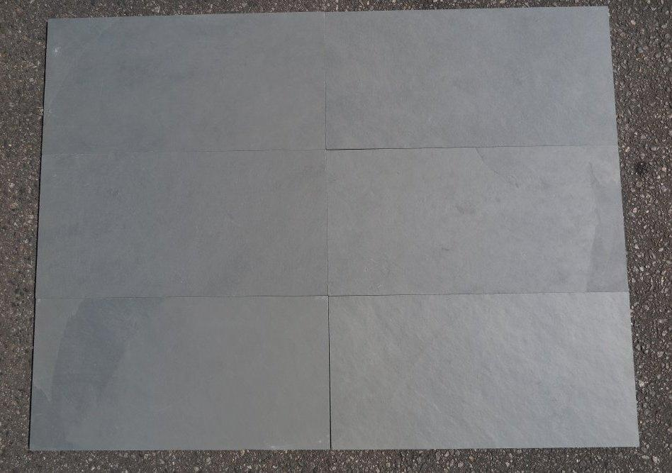 "Montauk Blue Slate Natural Cleft Face, Gauged Back Tile - 12"" x 24"" x 3/8"""