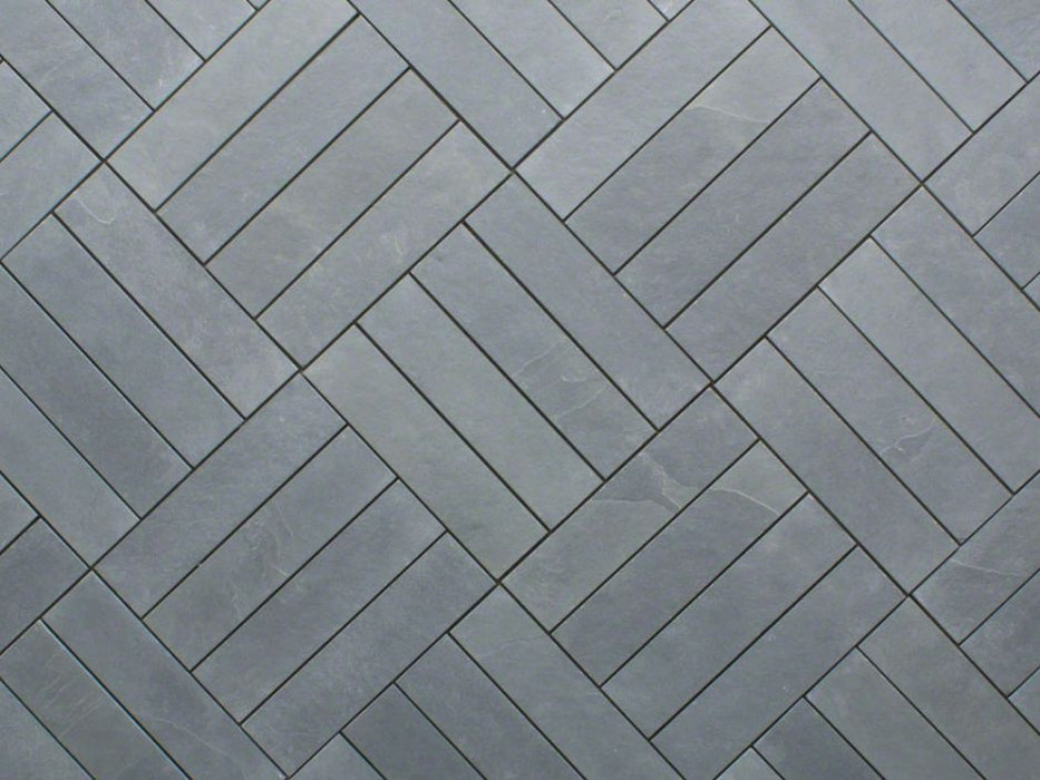 "Montauk Blue Slate Natural Cleft Face, Gauged Back Tile - 8"" x 24"" x 3/8"""