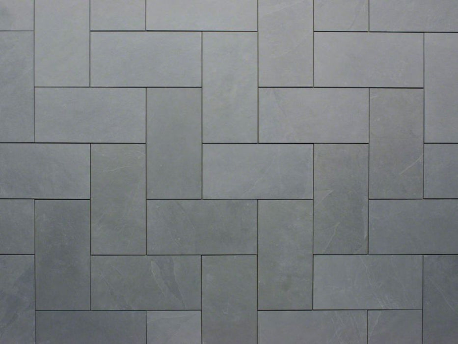 "Montauk Blue Slate Natural Cleft Face, Gauged Back Tile - 4"" x 12"" x 3/8"""
