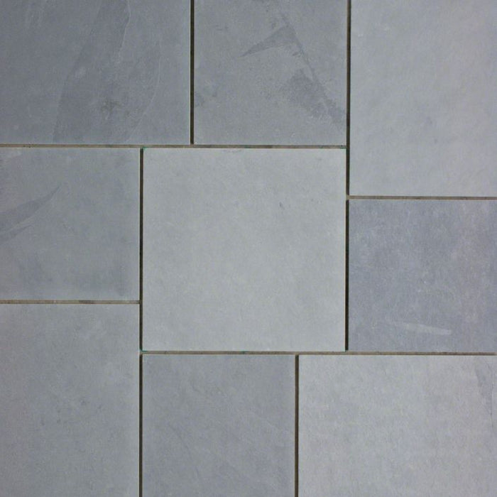 "Montauk Blue Slate Natural Cleft Face, Gauged Back Tile - 3"" x 12"" x 3/8"""