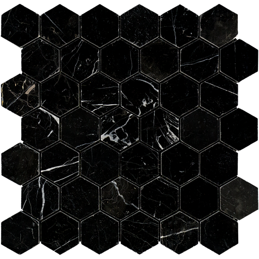 "Negro Marquina Marble Mosaic - 2"" Hexagon Polished"