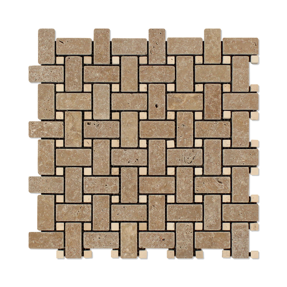 Noche Travertine Mosaic - Basket Weave with Ivory Dots Tumbled