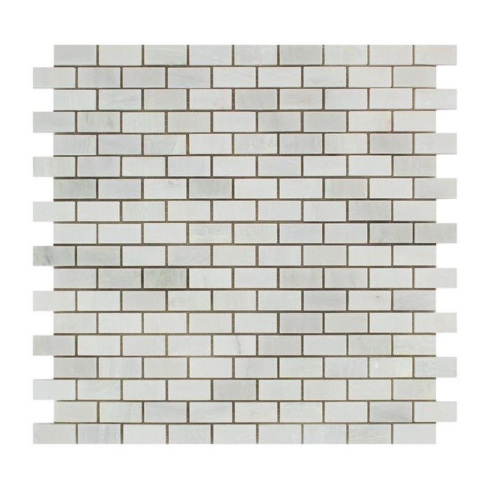 "Oriental White Marble Mosaic - 5/8"" x 1 1/4"" Baby Brick Polished"