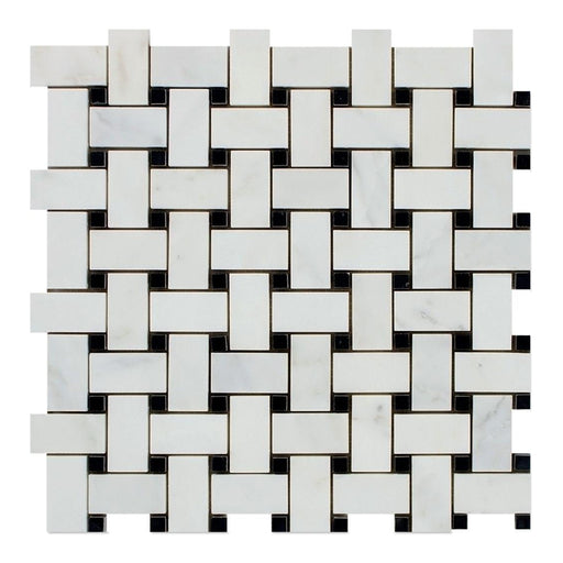 Oriental White Marble Mosaic - Basket Weave with Black Dots Polished