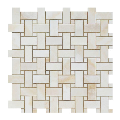White Cross Cut Onyx Mosaic - Basket Weave with White Onyx Dots Polished