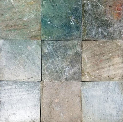 "Ocean Green Slate Tile - 16"" x 16"" x 1/2"" Natural Cleft Face, Gauged Back"