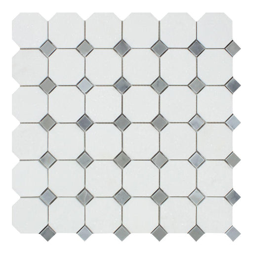 Thassos White Marble Mosaic - Octagon with Gray Dots Polished