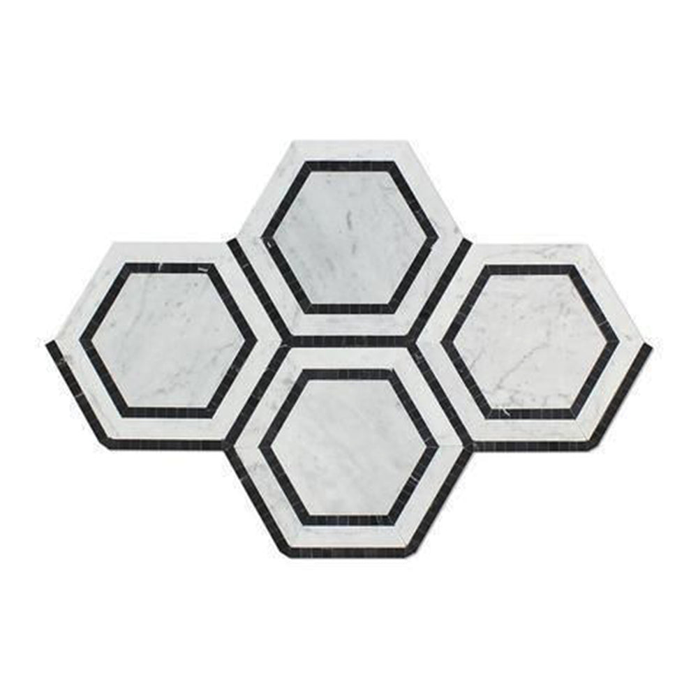 "Oriental White Marble Mosaic - 5"" Hexagon with Black Polished"