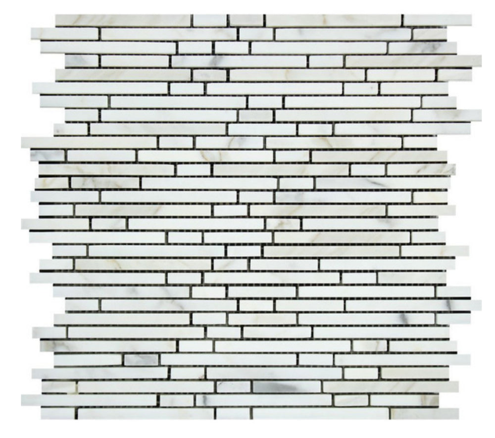 Oriental White Marble Mosaic - Bamboo Sticks Polished