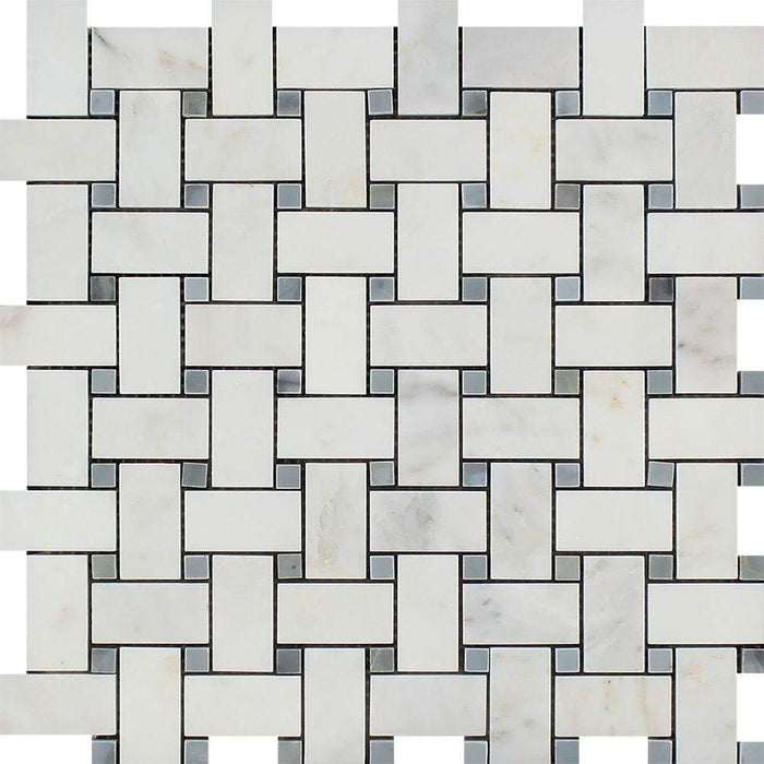 Oriental White Marble Mosaic - Basketweave with Gray Dots Polished