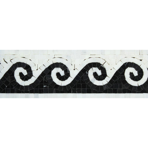 "Oriental White Marble Border - 3 7/8"" x 12"" Wave Border with Black Polished"
