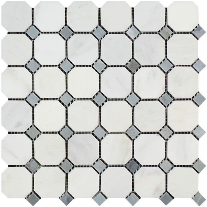 Oriental White Marble Mosaic - Octagon with Gray Dots Polished