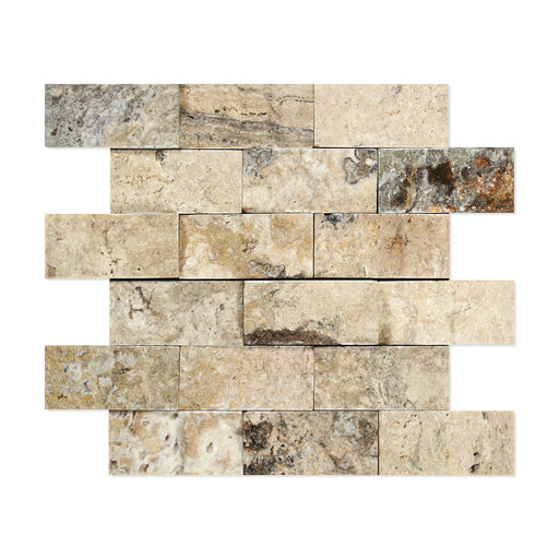 "Philadelphia Travertine Mosaic - 2"" x 4"" Brick Split Face"