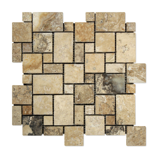 Philadelphia Travertine Mosaic - Mini Versailles Pattern Tumbled
