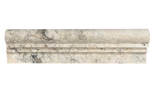 "Philadelphia Travertine Liner - 2 1/2"" x 12"" Double-step Chair Rail Honed"