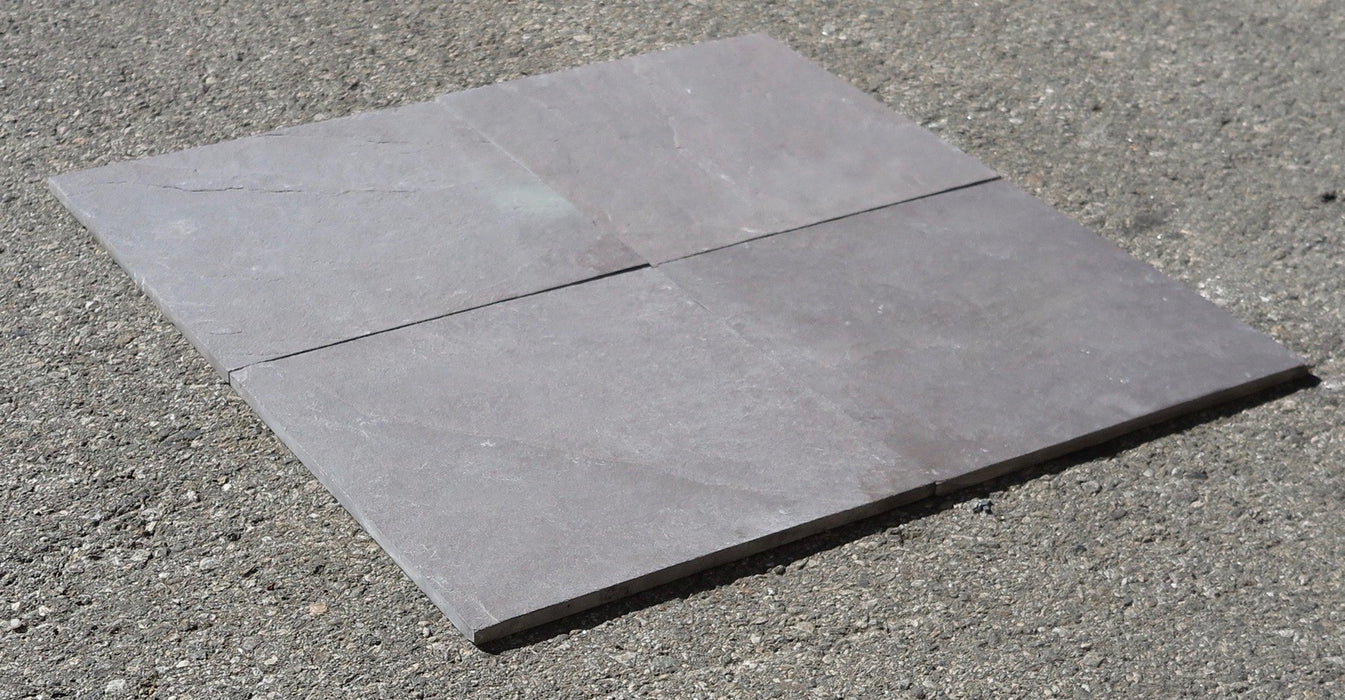 "Plum Slate Natural Cleft Face, Gauged Back Tile - 8"" x 8"" x 3/8"""
