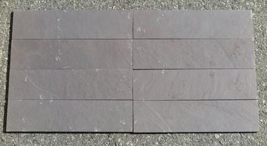 "Plum Slate Natural Cleft Face, Gauged Back Tile - 6"" x 6"" x 3/8"""