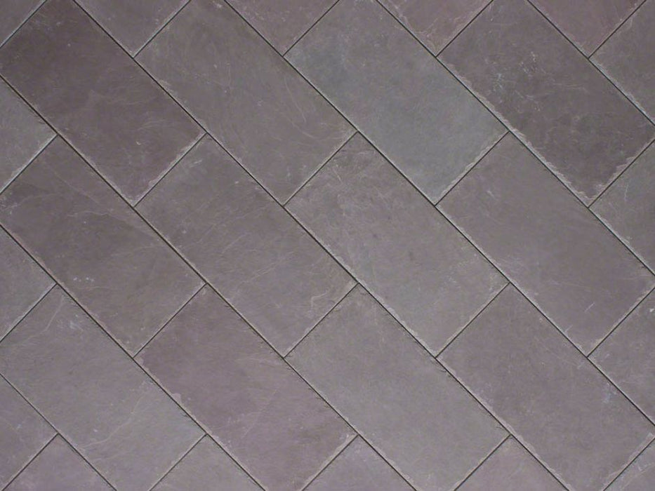 "Plum Slate Natural Cleft Face, Gauged Back Tile - 3"" x 12"" x 3/8"""