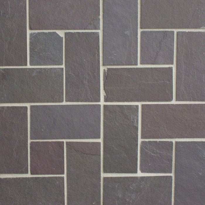 "Plum Slate Natural Cleft Face, Gauged Back Tile - 4"" x 16"" x 3/8"""