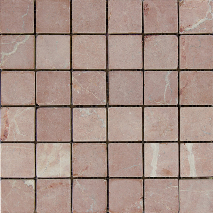 "Rojo Alicante Marble Mosaic - 2"" x 2"" Tumbled"