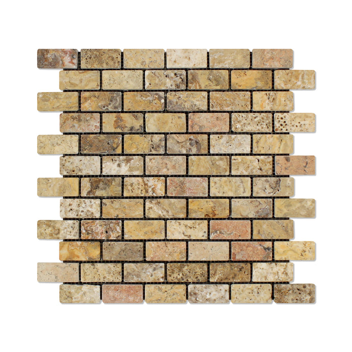 "Scabos Travertine Mosaic - 1"" x 2"" Brick Tumbled"