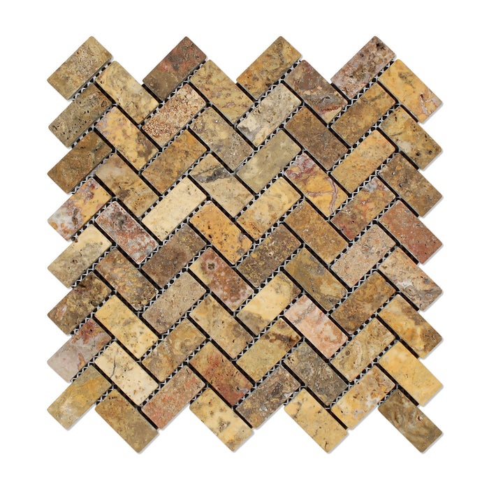 "Scabos Travertine Mosaic - 1"" x 2"" Herringbone Tumbled"