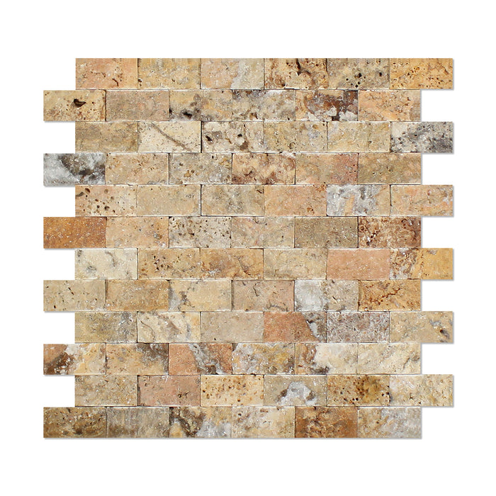 "Scabos Travertine Mosaic - 1"" x 2"" Brick Split Face"