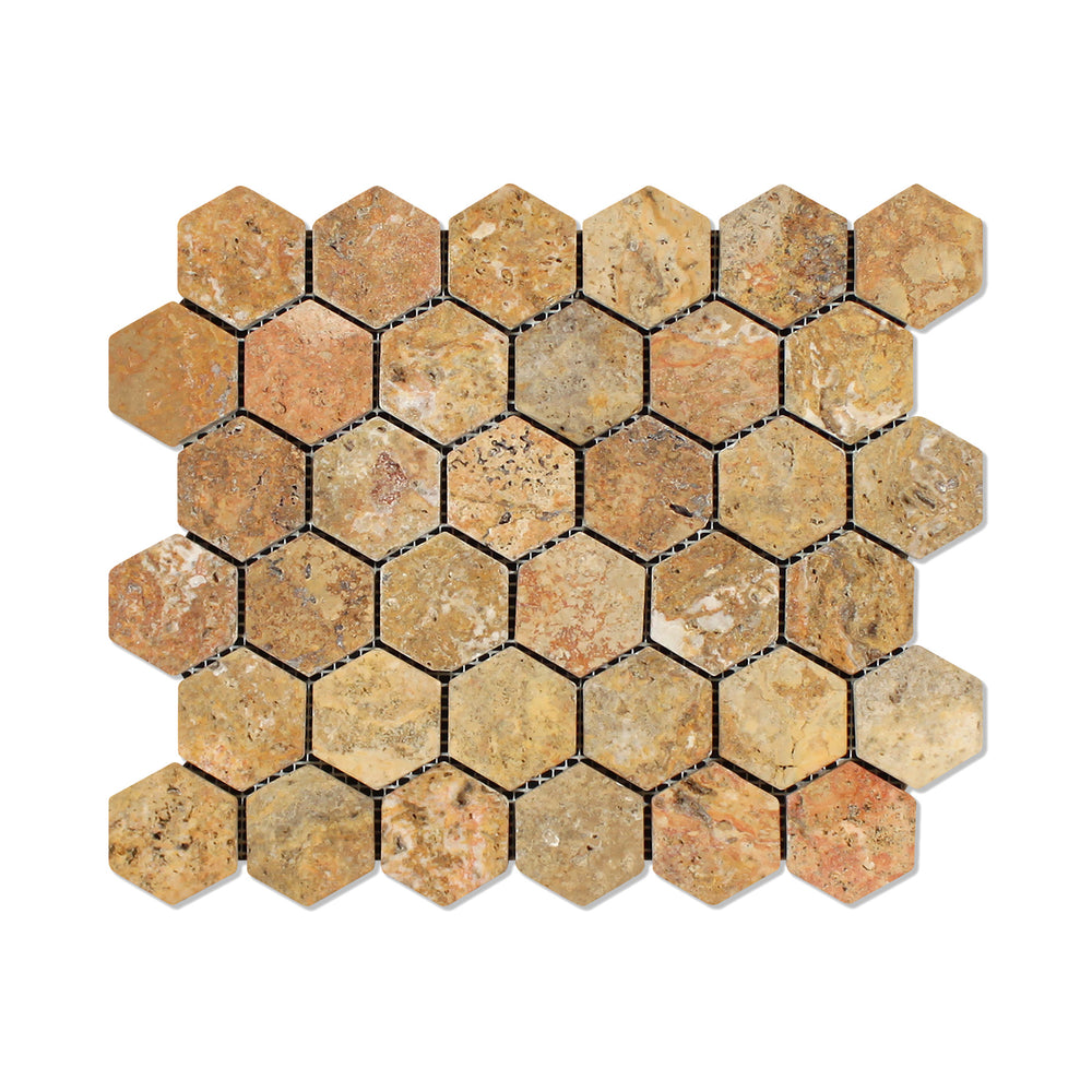 "Scabos Travertine Mosaic - 2"" Hexagon Tumbled"