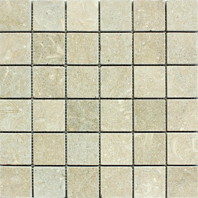 "Sea Grass Limestone Mosaic - 2"" x 2"" Tumbled"