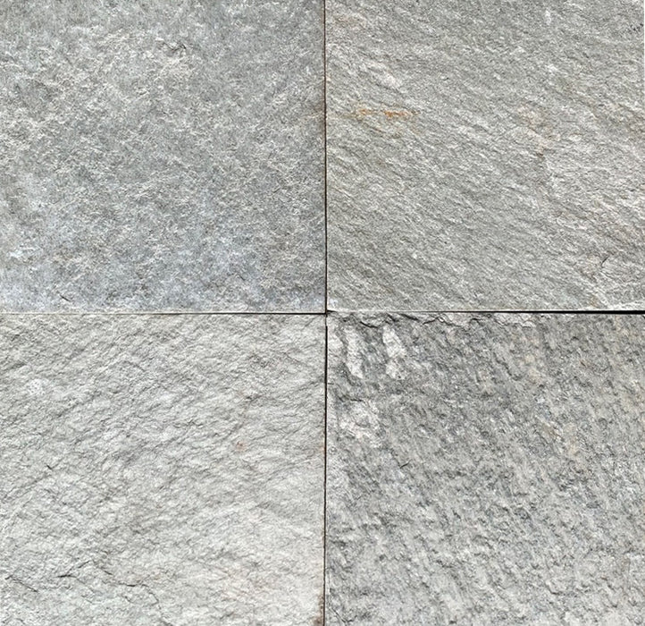 "Silver White Slate Tile - 16"" x 16"" x 5/8"" - 3/4"" Natural Cleft Face & Back"