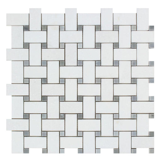 Thassos White Marble Mosaic - Basket Weave with Gray Dots Polished