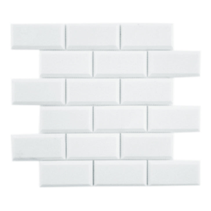 "Thassos White Marble Mosaic - 2"" x 4"" Beveled Brick Polished"