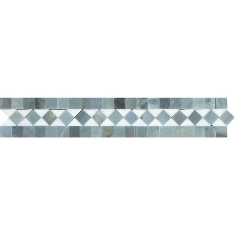"Thassos White Marble Border - 2"" x 12"" Bias Border with Gray Polished"