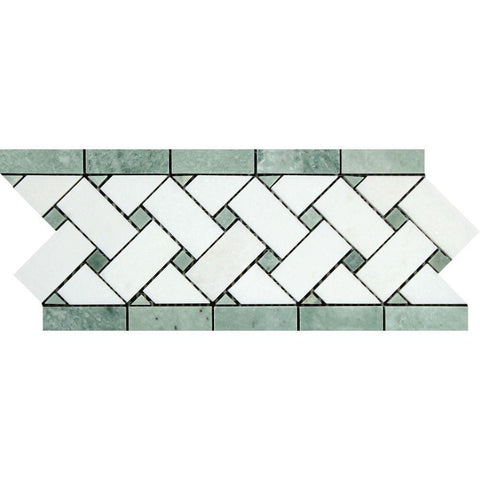"Thassos White Marble Border - 4 3/4"" x 12"" Basketweave Border with Ming Green Dots Polished"