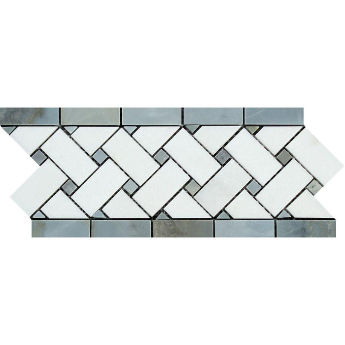 "Thassos White Marble Border - 4 3/4"" x 12"" Basket Weave Border with Gray Dots Polished"