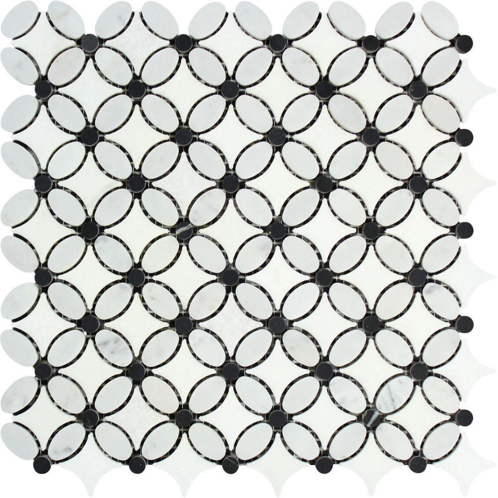 Thassos White Marble Mosaic - Flower with Black Dots Polished