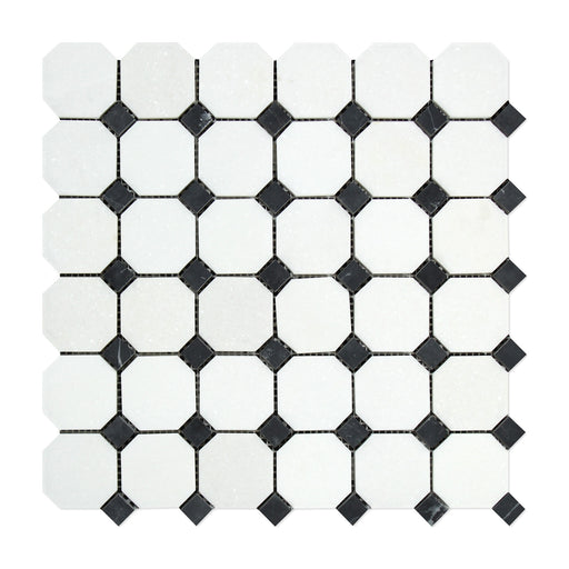 Thassos White Marble Mosaic - Octagon with Black Dots Polished