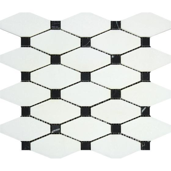 Thassos White Marble Mosaic - Elongated Octagon with Black Dots Polished