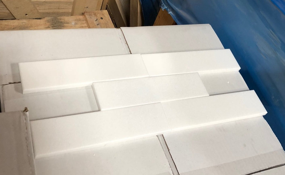 "Thassos White Extra Marble Tile - 2"" x 8"" x 3/8"" Polished"