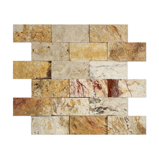 "Valencia Travertine Mosaic - 2"" x 4"" Brick Split Face"