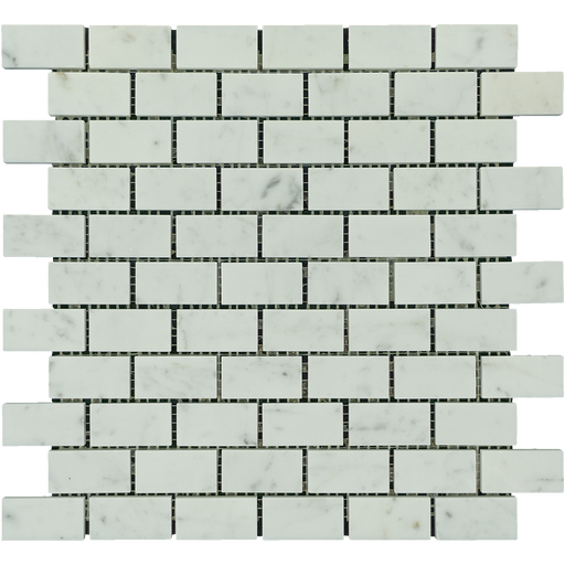 "White Carrara Marble Mosaic - 1"" x 2"" Brick Polished"