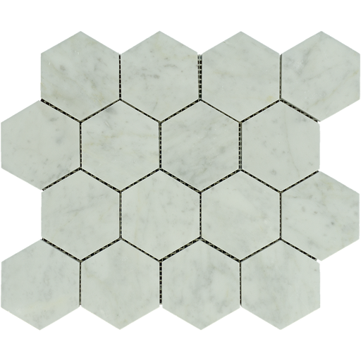 "White Carrara Marble Mosaic - 3"" Hexagon Polished"
