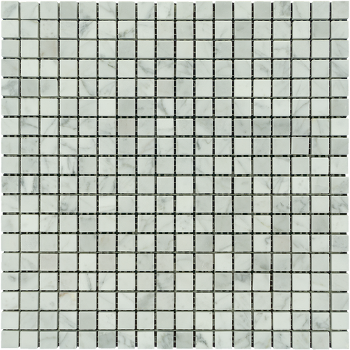 "White Carrara Marble Mosaic - 5/8"" x 5/8"" Polished"